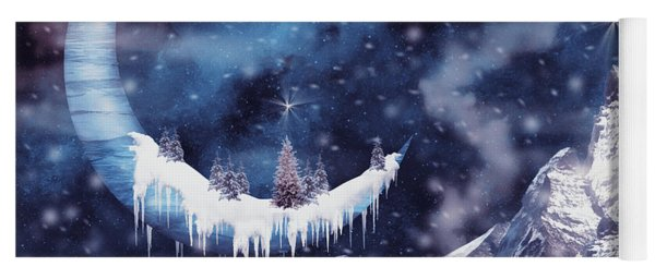 Christmas Card With Frozen Moon Yoga Mat