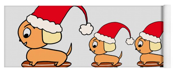 Christmas Dogs On Skateboards Yoga Mat