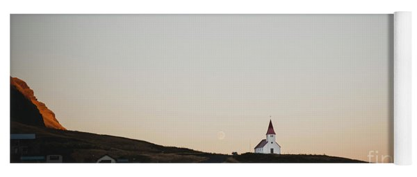 Church On Top Of A Hill And Under A Mountain, With The Moon In The Background. Yoga Mat