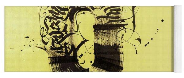 Circulation. Calligraphic Abstract Yoga Mat