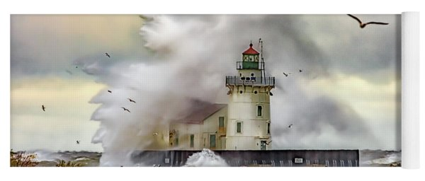 Cleveland Lighthouse Storm  Yoga Mat