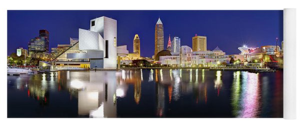 Cleveland Skyline At Dusk Rock Roll Hall Fame Yoga Mat