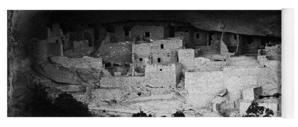 Yoga Mat featuring the photograph Cliff Palace In Black And White by Jon Burch Photography