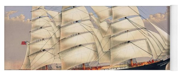 Clipper Ship Three Brothers, The Largest Sailing Ship In The World Published By Currier And Ives Yoga Mat