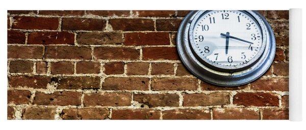Clock On A Brick Wall Yoga Mat