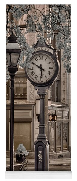 Clock On Street Yoga Mat