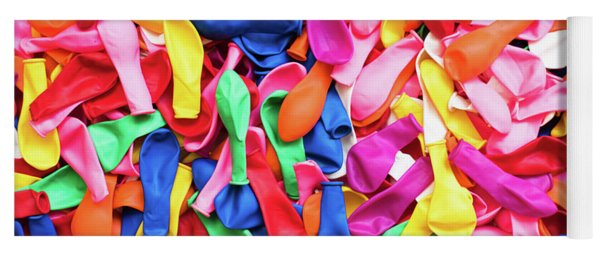 Close-up Of Many Colorful Children's Balloons, Background For Mo Yoga Mat