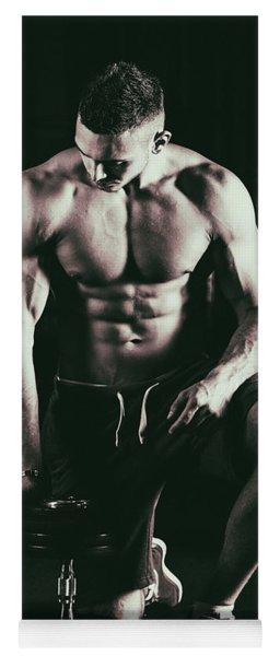 Close-up Of Muscular Man Yoga Mat