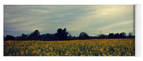 Cloudy Sunflowers Yoga Mat