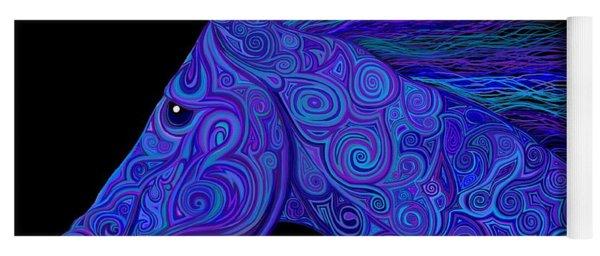 Colorful Blue Stallion Yoga Mat
