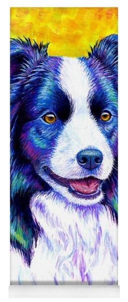 Colorful Border Collie Dog Yoga Mat