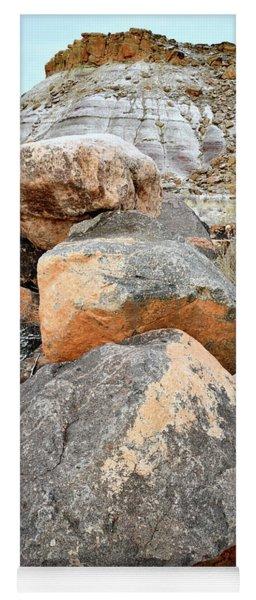 Colorful Boulders Beneath Bentonite Dunes Yoga Mat