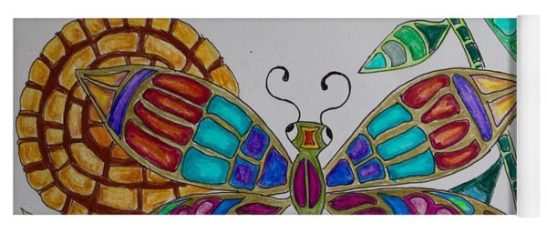 Colorful Dragonfly Yoga Mat