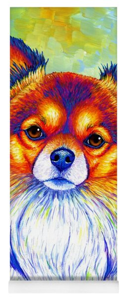Colorful Long Haired Chihuahua Dog Yoga Mat