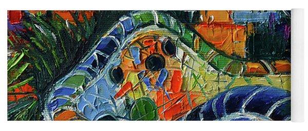 Colorful Mosaic Park Guell Barcelona Impasto Palette Knife Stylized Cityscape Yoga Mat