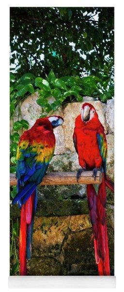Colorful Parrots Yoga Mat