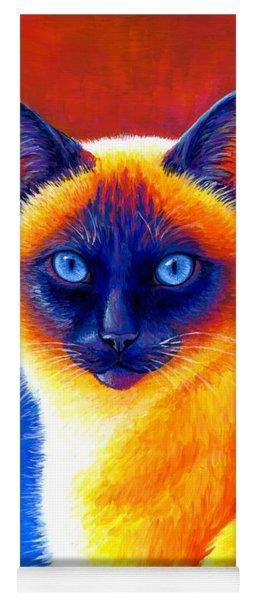 Colorful Siamese Cat Yoga Mat
