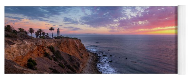 Colorful Sky After Sunset At Point Vicente Lighthouse Yoga Mat