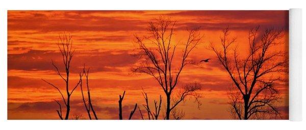 Colorful Sunrise Trees Yoga Mat