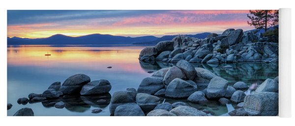 Colorful Sunset At Sand Harbor Yoga Mat