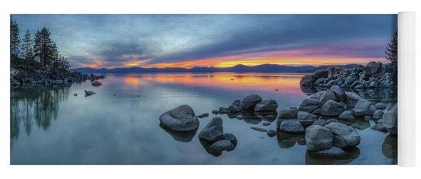 Colorful Sunset At Sand Harbor Panorama Yoga Mat