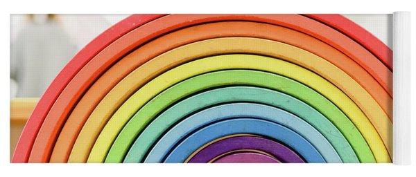 Colorful Waldorf Wooden Rainbow In A Montessori Teaching Pedagogy Classroom. Yoga Mat
