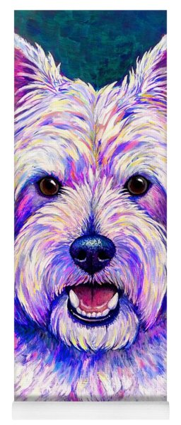 Colorful West Highland White Terrier Blue Background Yoga Mat