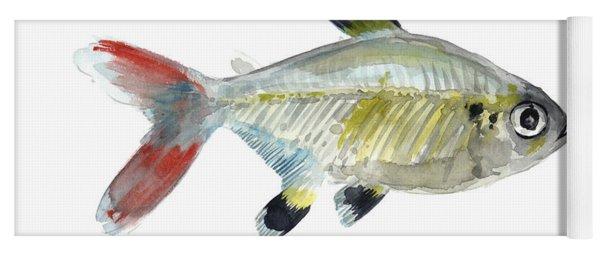 Colorful X-ray Tetra Fish Watercolor Yoga Mat