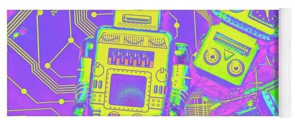 Comic Circuitry Robots Yoga Mat