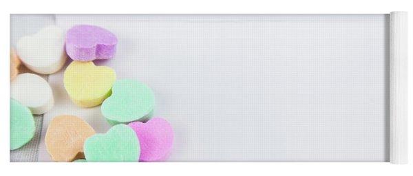 Conversation Hearts On A Notecard Yoga Mat
