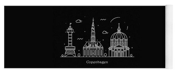 Copenhagen Skyline Travel Poster Yoga Mat