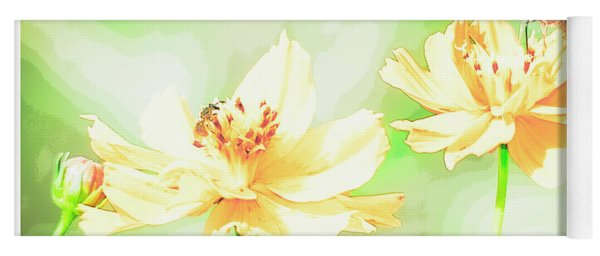 Cosmos Flowers, Bud, Butterfly, Digital Painting Yoga Mat