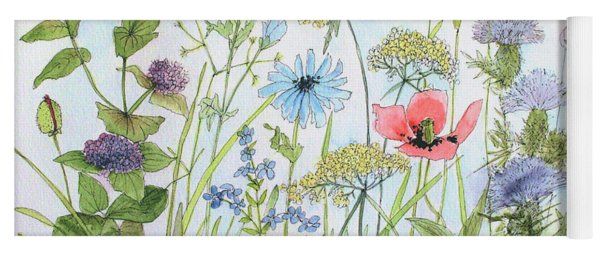 Cottage Flowers And Bees Yoga Mat