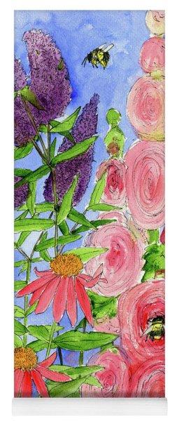Cottage Garden Hollyhock Bees Blue Skie Yoga Mat