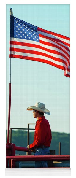 Cowboy And American Flag Yoga Mat