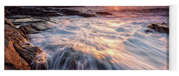 Crashing Waves At Sunrise, Nubble Light.  Yoga Mat