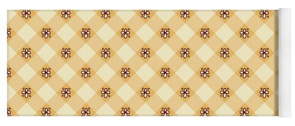 Cream Floral Gingham Pattern Yoga Mat