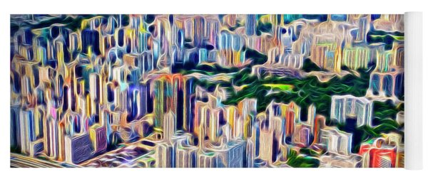 Crowded Hong Kong Abstract Yoga Mat