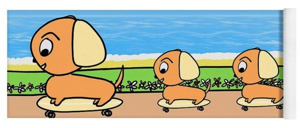 Cute Cartoon Dogs On Skateboards By The Beach Yoga Mat