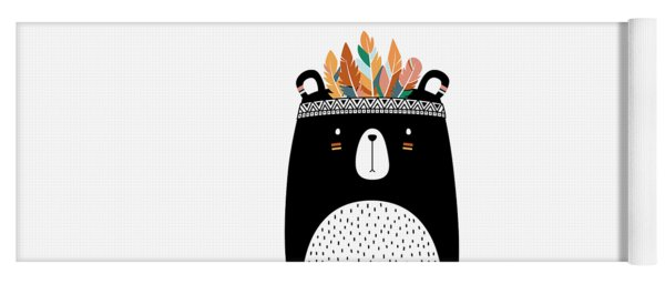 Cute Tribal Bear - Boho Chic Ethnic Nursery Art Poster Print Yoga Mat
