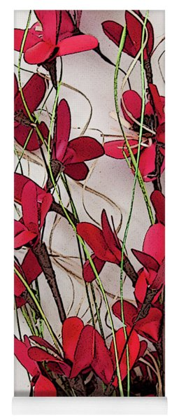 Dainty Red Floral Bouquet Yoga Mat