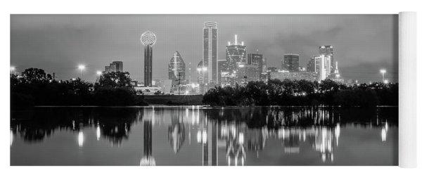 Dallas Cityscape Reflections Black And White Yoga Mat