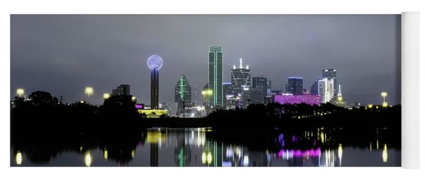 Dallas Texas Cityscape River Reflection Yoga Mat