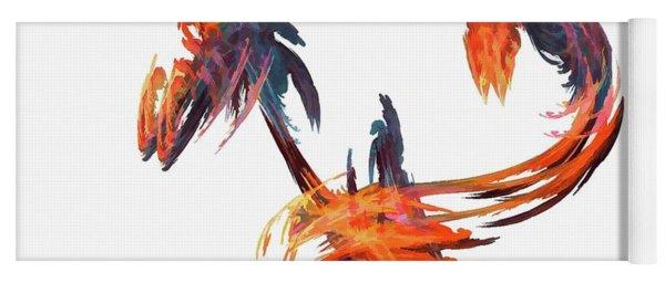 Dance Of The Birds Orange Yoga Mat