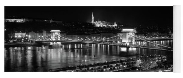 Yoga Mat featuring the photograph Danube River At Night by Mark Duehmig