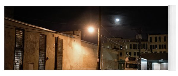 Dark Chicago City Alley At Night With The Moon Yoga Mat