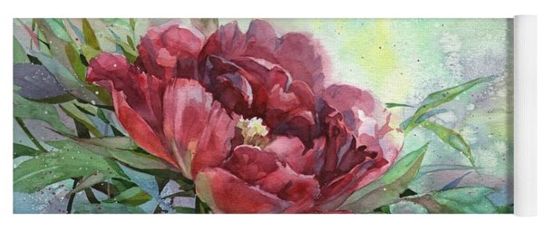 Dark Red Peony Flower Yoga Mat