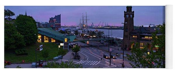 Dawn Over The Port And City Hamburg Panorama Yoga Mat