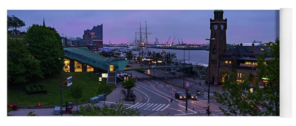 Dawn Over The Port And City Hamburg Panorama Yoga Mat