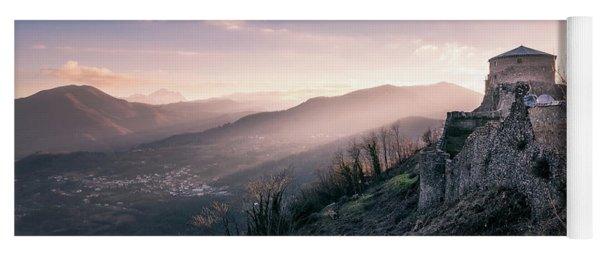 Dawning Fortress - The Famous Fortress Of Verrcuole In Tuscany At Dawn Yoga Mat